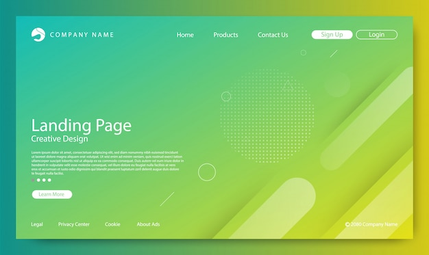 Website landing page gradient color background