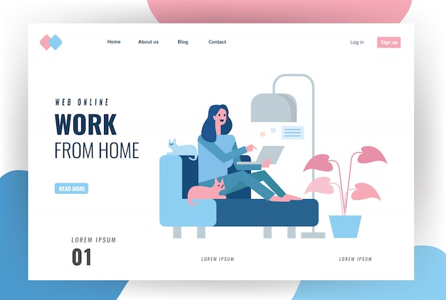 Website landing page. happy woman sitting on sofa and working with laptop. home quarantine concept design. illustration