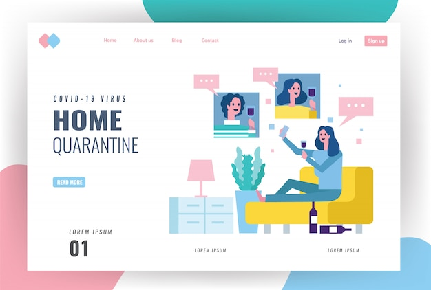 Website landing page idea for covid-19 outbreak, stay home, social distancing. young women drinking wine at home and celebrating video call to friends.  flat design   illustration