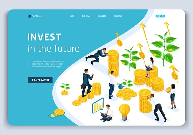 Website landing page isometric concept investments in the future, investors carry money to the investment group, profit growth. easy to edit and customize.