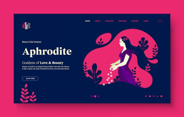 Website landing page for spa, beauty saloon, nature, beautiful girl. young girl dropping some flowers, in the nature, greek goddess aphrodite.  modern flat design illustration for website.