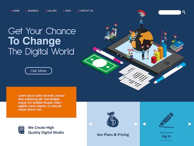 Website landing page template for business internet