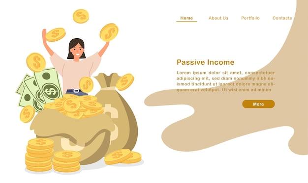 웹 사이트 방문 페이지 템플릿 만화 동전 지폐 더미와 coutless 수동 소득으로 응원하는 사람들