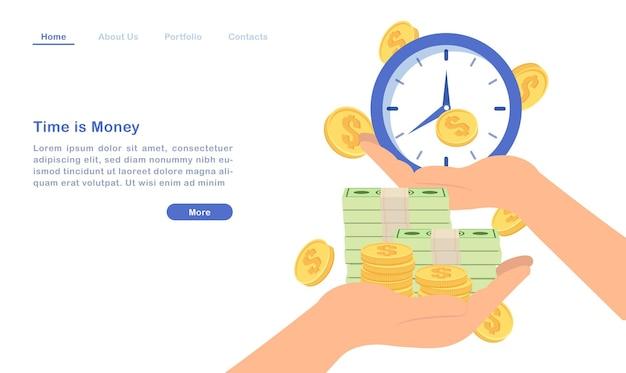 ウェブサイトのランディングページのテンプレート漫画の時間はお金の概念の黄金のコインの請求書と時計です