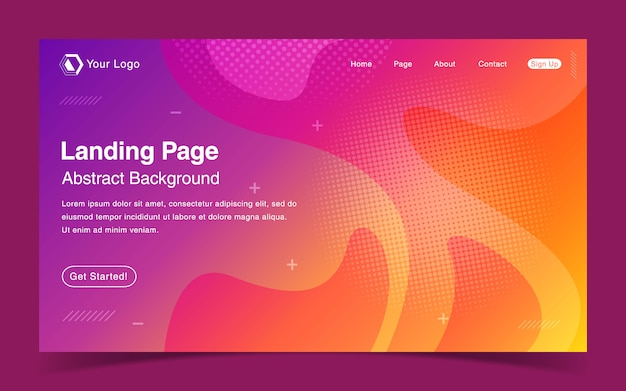 Website landing page template with abstract colorful background