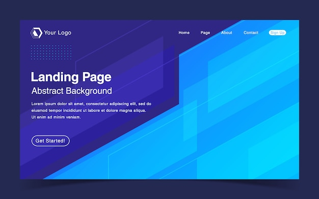 Website landing page template with geometric blue background
