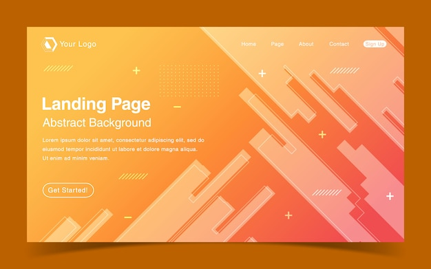 Website landing page template with geometric orange background