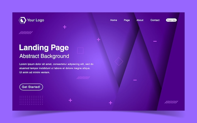 Website landing page template with geometric purple background