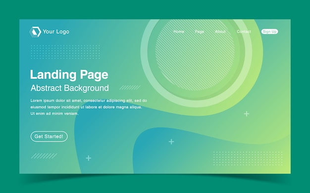 Website landing page template with green gradient background