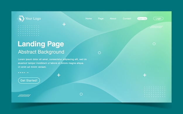 Website landing page template with green gradient