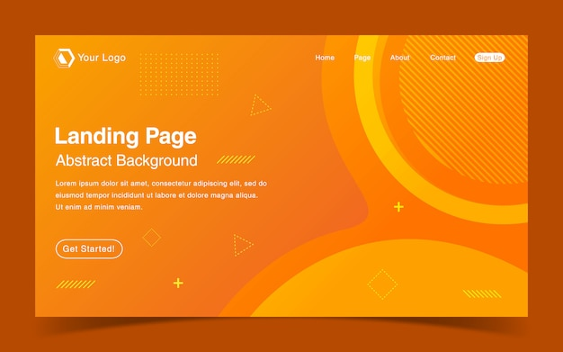 Website landing page template with orange gradient background
