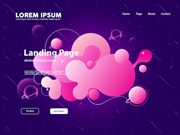 Website landing page with abstract cloud background