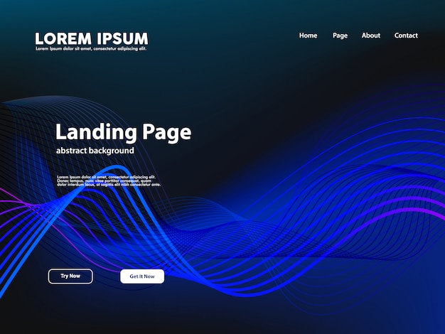 Website landing page with abstract curve