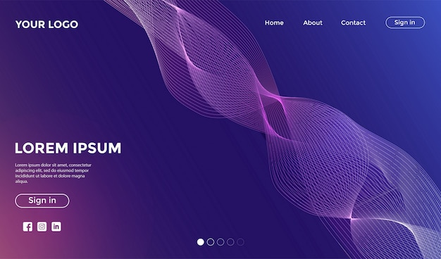 Website landing page with dynamic colorful background