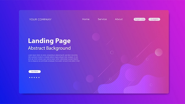 Website landing page with fluid shapes composition