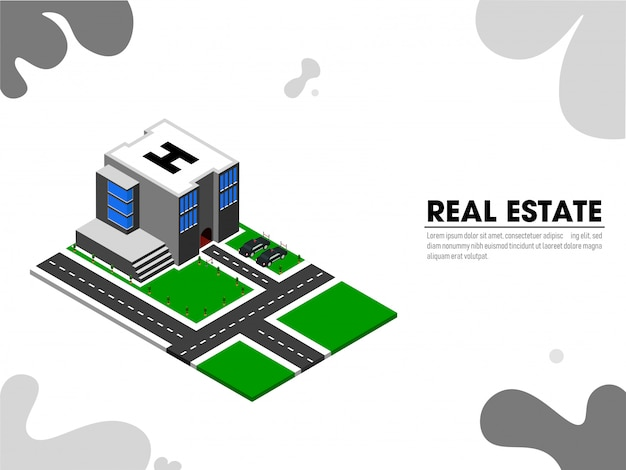 Website landing page with isometric view of real estate.