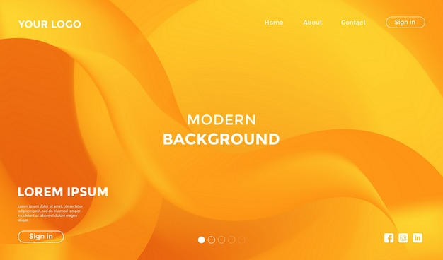 Website landing page with modern shape geometric background