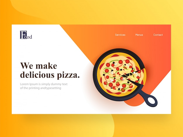 Website landing page  with presented delicious pizza on pan for restaurant.