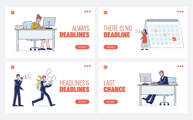 Website landing page work process in office with fast working staff.