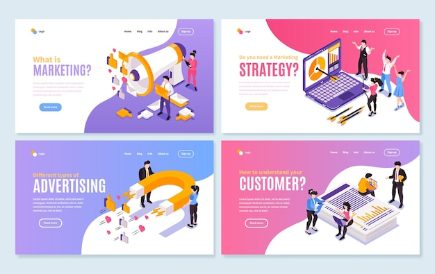 Website layout with marketing strategy theme