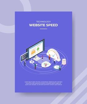 Modello del manifesto di concetto di velocità di caricamento del sito web con illustrazione di vettore di stile isometrico
