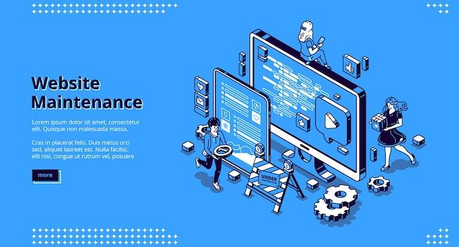 ウェブサイトのメンテナンスバナー。インターネットソフトウェアの更新、開発および管理のwebページの概念。