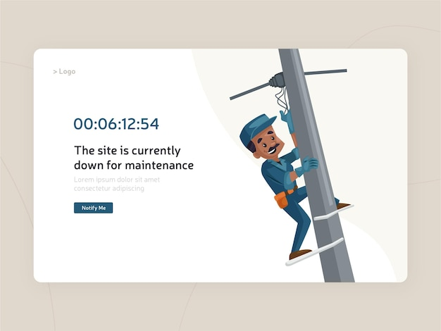 Website maintenance flat page template design