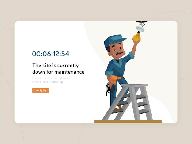 Website maintenance flat page template