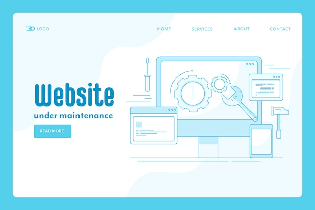 Website maintenance landing page concept