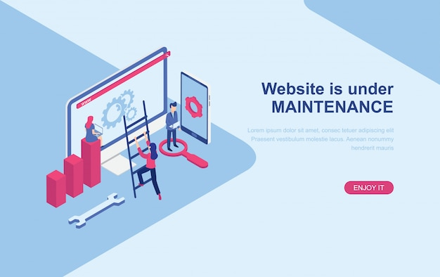 Website under maintenance page isometric landing page web template