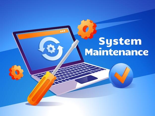 Обновление обслуживания веб-сайта веб-страницы разработки программного обеспечения в интернете с ноутбука