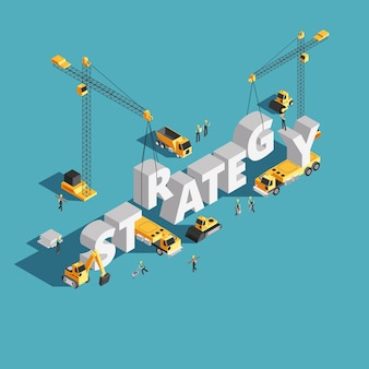 Website marketing strategy creation 3d isometric vector concept with workers and crane