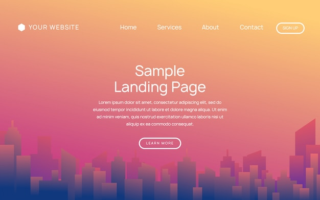 Website or mobile app landing page with cityscape illustration