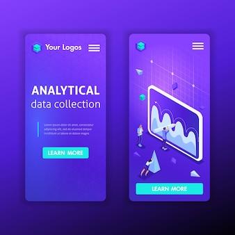 비즈니스 분석 데이터 수집을위한 웹 사이트 모바일 템플릿. 스마트 폰 앱의 일러스트레이션 개념