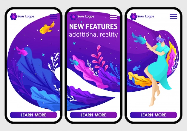 Website mobile  templates, isometric concept augmented reality. a girl is playing a virtual game with glasses. beautiful long hair.  illustration