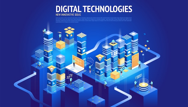 웹 사이트. 새로운 혁신적인 아이디어. 디지털 기술. 프리미엄 벡터
