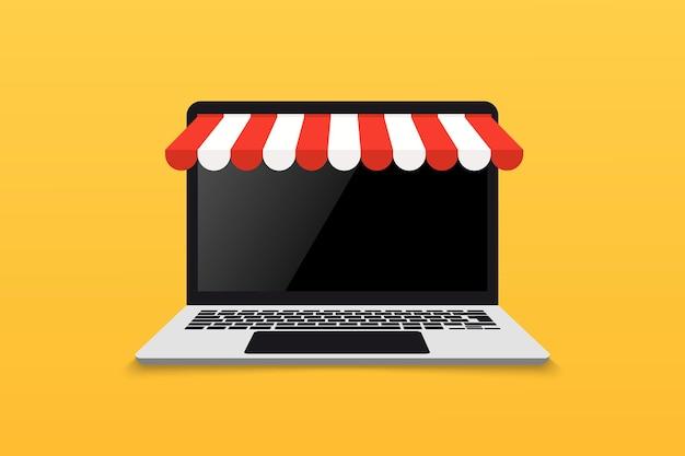 Сайт на открытом ноутбуке с экраном и покупкой. концепция покупок в интернете