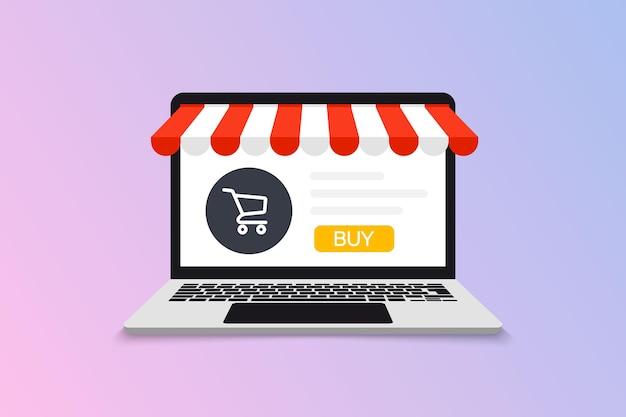 Сайт на открытом ноутбуке с экраном и покупкой. покупки онлайн. маркетинг и цифровой маркетинг