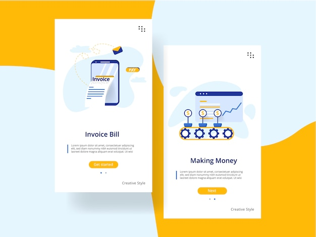 Website onboarding screens template. making money, invoice bill concept.