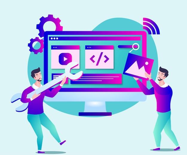 웹 사이트 페이지 개발 또는 웹 사이트 유지 관리 그림