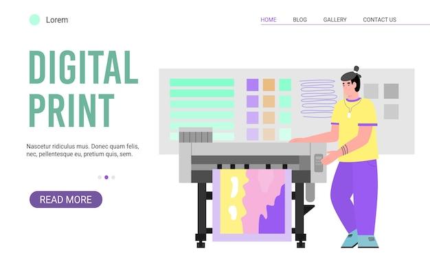디지털 인쇄 서비스를위한 웹 사이트 페이지 polygraphy 및 타이포그래피 인쇄는 웹 또는 랜딩 페이지 용 배너 템플릿을 작동합니다.