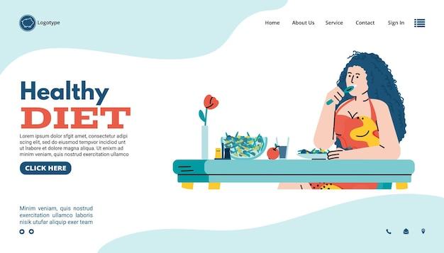 健康的なライフスタイルとダイエットフラット漫画ベクトルイラストのウェブサイトページ