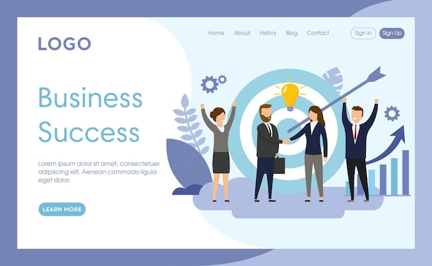 Website page template of business success