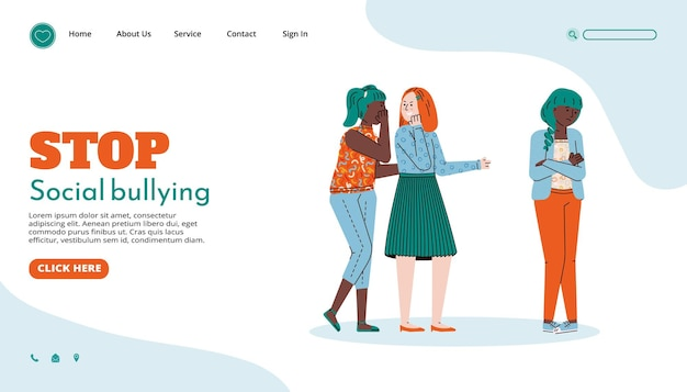 Website page template to stop social bullying cartoon vector illustration
