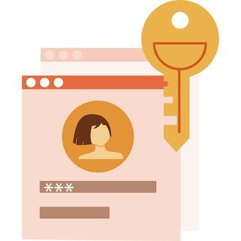 Значок входа в систему с паролем веб-сайта. форма доступа и безопасный вектор. цифровой замок, интернет-безопасность. персональные данные в интернете и защита информации. безопасность, технология регистрации пользователей и проверки аккаунта