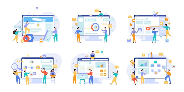 Website performance and business analytics vector illustrations set