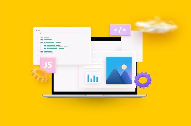 웹 사이트 프로그래밍 및 코딩. 웹 개발 및 코딩. 3d.
