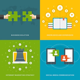Website promotion banners templates and flat icons design.