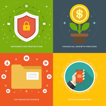 Website promotion banners templates and flat icons illustrations set