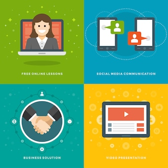 Website promotion banners templates and flat icons